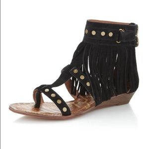 Sam Edelman Black Suede Fringe Sandals 9.5
